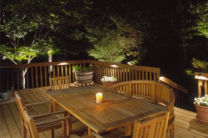Deck with landscaping lighting